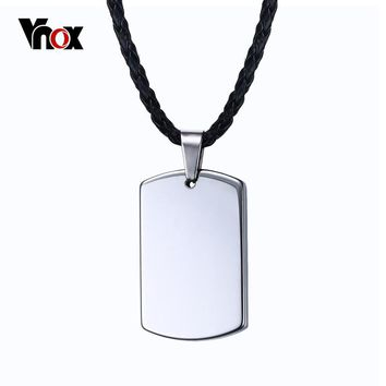 Vnox Personalized Dog Tag Necklace Women Men Tungsten Carbide Engravable Necklaces & Pendants