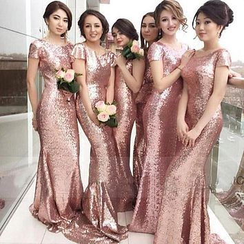 Rose Gold Sequin Mermaid Bridesmaid Dresses Long 2017 Short Sleeves Backless Wedding Party Dresses Cheap Formal Dresses