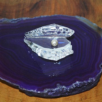 Crystal Oyster On Agate, Vintage Crystal Oyster With Pearl, Purple Agate Geode Slice