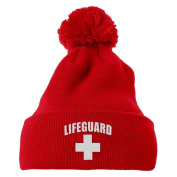 Lifeguard Embroidered Knit Pom Cap