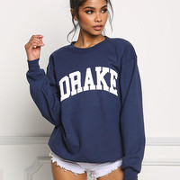 Petals and Peacocks Drake Pullover Sweatshirt in Navy