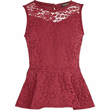 Girls dark red lace peplum top - tops - t-shirts / tanks / tops - girls