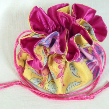 Drawstring Jewelry  Travel Bag, Tote, Pouch Sparrows and Blossoms  Medium