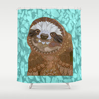 Happy Sloth Shower Curtain by ArtLovePassion