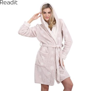 Hooded Womens Bathrobe Warm Sexy Pajamas Women Home Gown Female Long Bathing Robes Kimono  Pyjamas Women Fleece Sleepwear PA1452