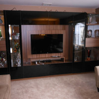 Black Glass Wall Unit – Victor with Mounting Panel  –  Custom Furniture Projects