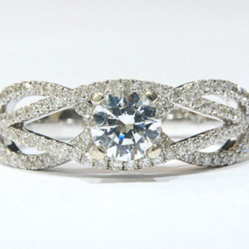 Vintage Engagement Ring -14K white gold Ring With Diamonds In prong and pave setting ,Handmade Ring, Art deco ring