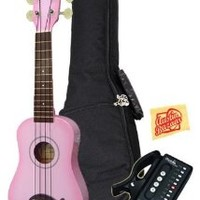 Kala MK-SD-PKBURST Makala Dolphin Soprano Ukulele Bundle with Gig Bag, Austin Bazaar Instructional DVD, Clip-On Tuner, and Polishing Cloth - Pink Burst