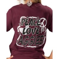 Girlie Girl Originals Ladies Peace, Love & Aggies Tee