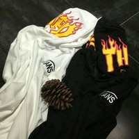 ONETOW Vans x Thrasher Pullover Hoodie Flame joint paragraph sweater