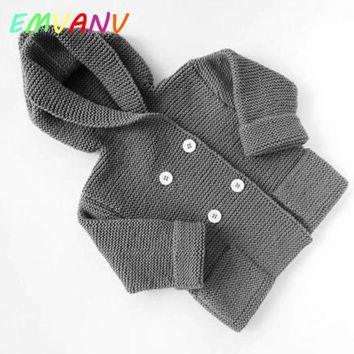 2017 New In fashion Autumn Winter Sweater Boy Coat Clothes Infant Hooded Knitted Sweater Outwear Baby Girl Warm Clothing