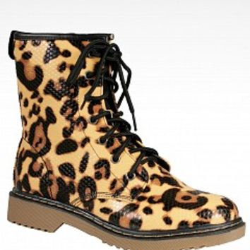 Lady Godiva TOBY-1-9-3 Animal Print Combat Boots Women Boots CHEETAH Bare Feet Shoes
