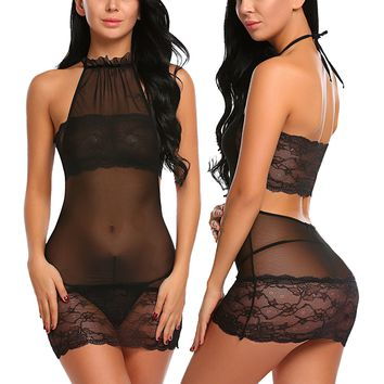 Women Lingerie Set Lace Babydoll Mesh Chemise Halter Teddy Nightie