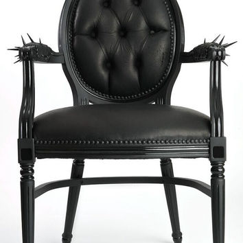 Black on black 100% genuine leather French louis xvi dining armchair upholstered and tufted in black matte leather painted flat black gloss