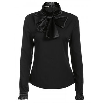 Women Ruffled Neck Bow Tie Long Sleeve Solid Pullover Blouse Top