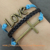 Bronze Cross Love Bracelet Charm bracelet by handworld