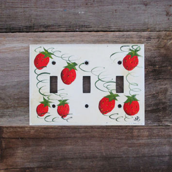 Light Switch Cover Mid Century Triple Light Cover Hand Painted Light Switch Cover Retro Light Switch Plate Vintage Strawberries Switch Cover