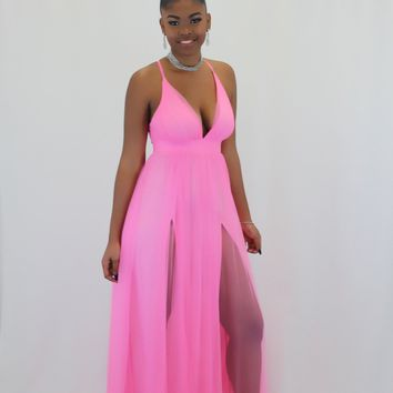 Alexis Pink High Slit Tulle Maxi Dress