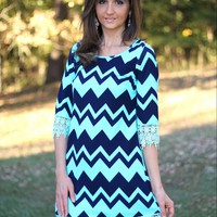 Si Style Navy Blue and Mint Chevron Stretch Dress with Lace Trim