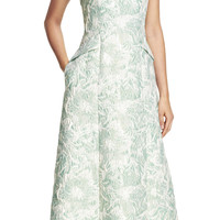 Strapless Floral Metallic Jacquard Ball Gown - Adrianna Papell