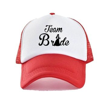 Trendy Winter Jacket Grooms Team Bride Teams Cap Photo Props Colorful Young Hen Party Mesh Caps Couple Lovers Bridal Shower Snapback Hats YY413 AT_92_12
