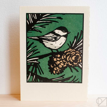 Black Capped Birdie Greeting Card