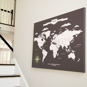World Map Art, INTERACTIVE Family Map // Mark the places you've visited //  Personalized, Gallery Wrapped Canvas or Print // H-I05-1PS AA4