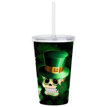 ST PATRICK SKULL CARTOON ACRYLIC DOUBLE-WALL TUMBL