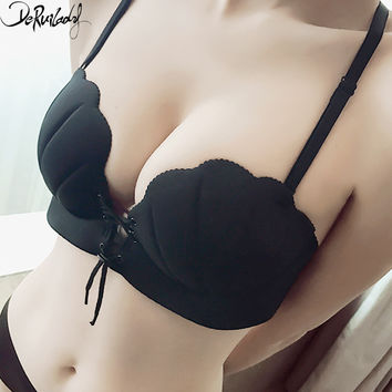 DeRuiLaDy LB Sexy Bra Wireless Thick Adjusted Straps Push Up Bra Women Seamless Underwear Women Palm Massage Shell Bra Lingerie