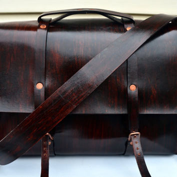 HANDMADE LEATHER BAG by Little Lion Man - Suit Case Luggage Briefcase Wood Teak Copper Laptop Hand Stitched
