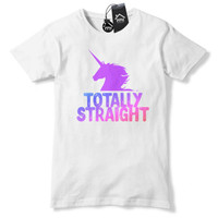 Totally Straight Funny Unicorn Tshirt Mens Camp Gay Lesbian Tee Top girls 435