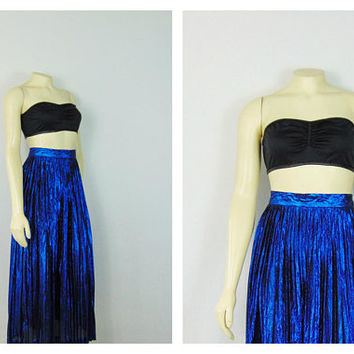 Vintage Dress 80s Skirt Evan Picone Metallic Blue Pleated Long Skirt Size 6 Modern size Small