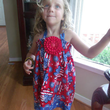 4th of July Dress Toddler Halter Twirly Dress by MyLittleFireflies