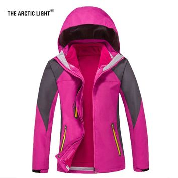 THE ARCTIC LIGHT Hiking Jacket 2018 New Arrive High-quality Women Coat+lining 3 In 1 Outdoor Camping Winter Warm Ski suit