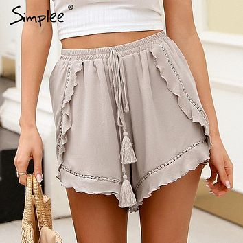 Simplee White lace ruffle mini short ruffleshorts women Hid floral print lace shorts summer  elastic waist women shorts 2018