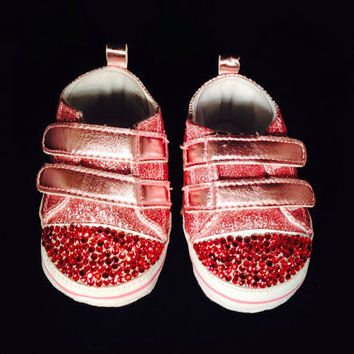 Infant size 2 pink shoes with bling, baby booties, pink baby booties, bling baby shoes, bling booties, baby shower gifts