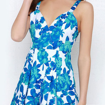 Summer Blue Flowers Printed Sleeveless V-neck Straps Rompers