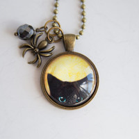 Black Cat Necklace - Art Pendant -  Halloween Jewelry - Custom Jewelry - Peeking Black Cat - Cat with Spider Charm - Animal and Pet Jewelry