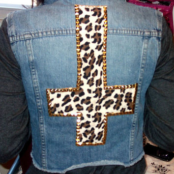 Cheetah Studded Jean Vest by FlowerSourDiesel on Etsy