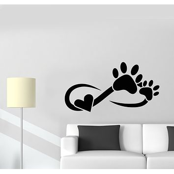 Vinyl Wall Decal Pet Love Paw Heart Animal Room Grooming Stickers Mural (g1822)