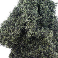 black green knit scarf, hand knit shaggy unisex scarf, UK shop