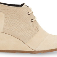 Cream Suede Snake Women's Desert Wedges