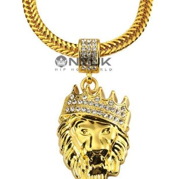 The New 18k Real Gold Diamond Crown Jewels Hiphop Pendant Necklace Hiphop Jewelry Spot Agent.