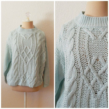 Vintage Mint Green Cable Hand Knit Crop Pullover Sweater Womens Colter Bay Large