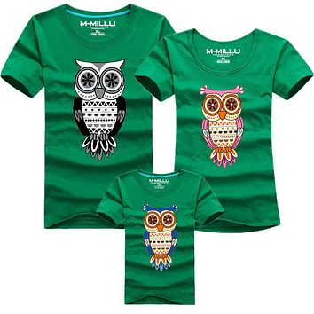 1 Piece New Family Look Owl Printed T Shirts Summer Family Clothes Father Mother Daughter & Son Outfits