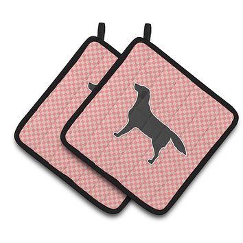 Black Labrador Retriever Checkerboard Pink Pair of Pot Holders BB3608PTHD