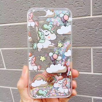 New cartoon Liquid Glitter Quicksand Rainbow Unicorn Horse Cover Shell for iPhone 6 6S 6plus 6Splus 7 7Plus 5 cute Phone Cases