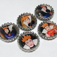 Evil Queen Magnets / Bottle Cap Magnet Set / Snow White Bottlecap / Disney Villain / Fridge Magnets / Villains Party Favors