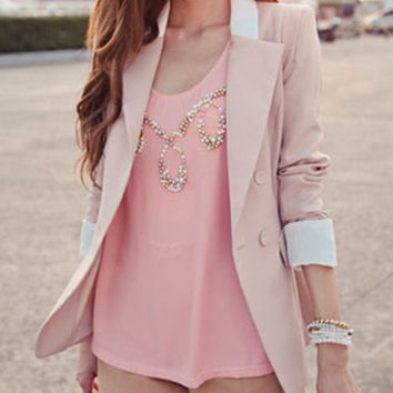 Pink Turn-Down Collar Long Sleeve Pleated Blazer