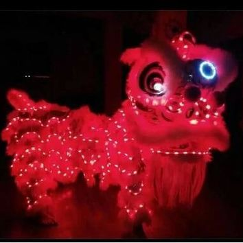 LED Light Lion Dance Costume Wool Lion Dancing Costume Double Adult Lion Dance Outfit Southern Lion Dancing Clothing